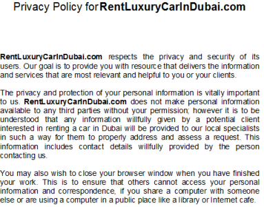 privacy policy cars Dubai